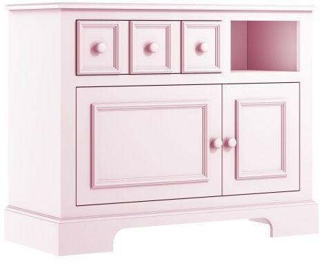 Różowa elegancka komoda dziecięca z szafkami