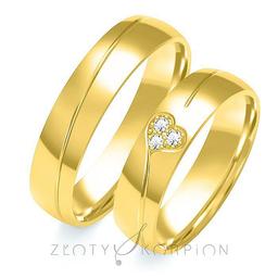 Obrączki ślubne z sercem i brylantami Złoty Skorpion  wzór Au-B-104