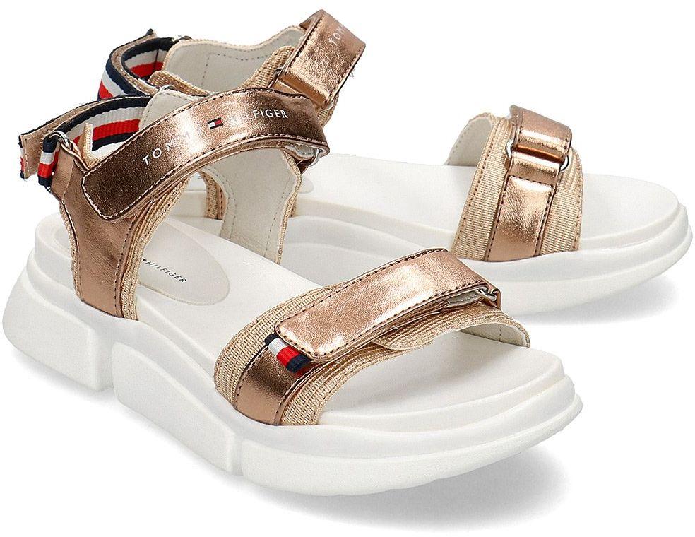 Tommy Hilfiger Velcro - Sandały Dziecięce - T3A2-30643-0896341 GOLD - Złoty