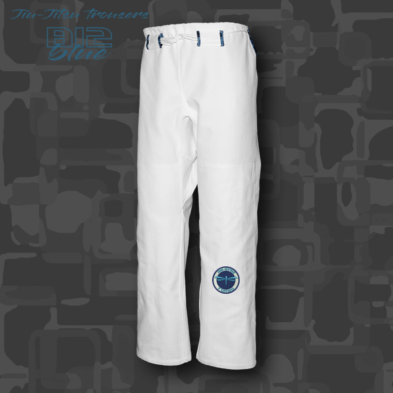 spodnie BJJ / Jiu-jitsu B12-blue 14oz, białe (27 rozmiarów)