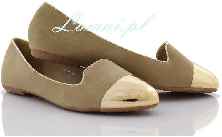 Lordsy, loafersy złoty czubek khaki 1060-f1