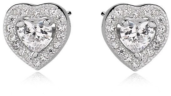 Delikatne rodowane srebrne kolczyki serca serduszka z cyrkoniami białe cyrkonie srebro 925 Z0760E_W