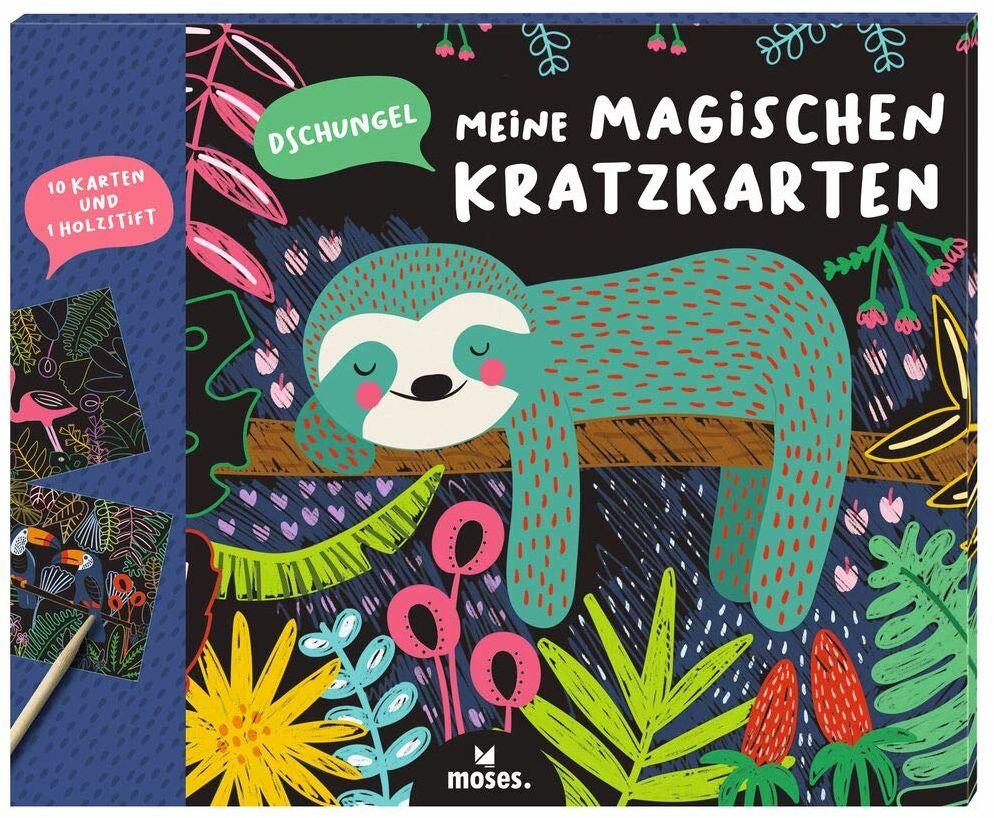 Moses 3103 Moje magiczne kartki do drapania dżungla 10 obrazów do zdrapywania z drewnianym pisakiem Zestaw do malowania na urodziny dziecka Scratch Art Dla dzieci od 4 lat, kolorowe