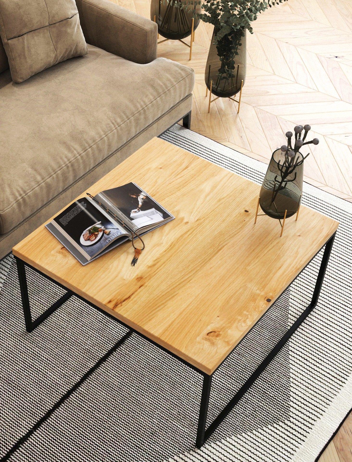 Stolik kawowy dębowy Ław05 kwadratowy