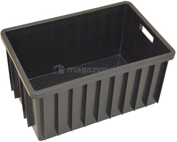 Pojemnik magazynowy, wym. 60 x 40cm, kolor czarny, bez atestu na kontakt z żywnością