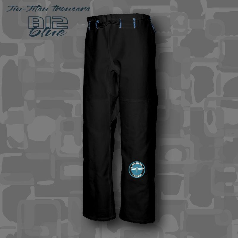 spodnie BJJ / Jiu-Jitsu B12-blue 14oz, czarne (27 rozmiarów)
