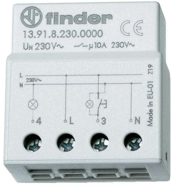 Przekaźnik impulsowy Finder 13.91.8.230.0000 Przekaźnik impulsowy montaż w puszkę 1NO 10A 230V AC Finder 13.91.8.230.0000