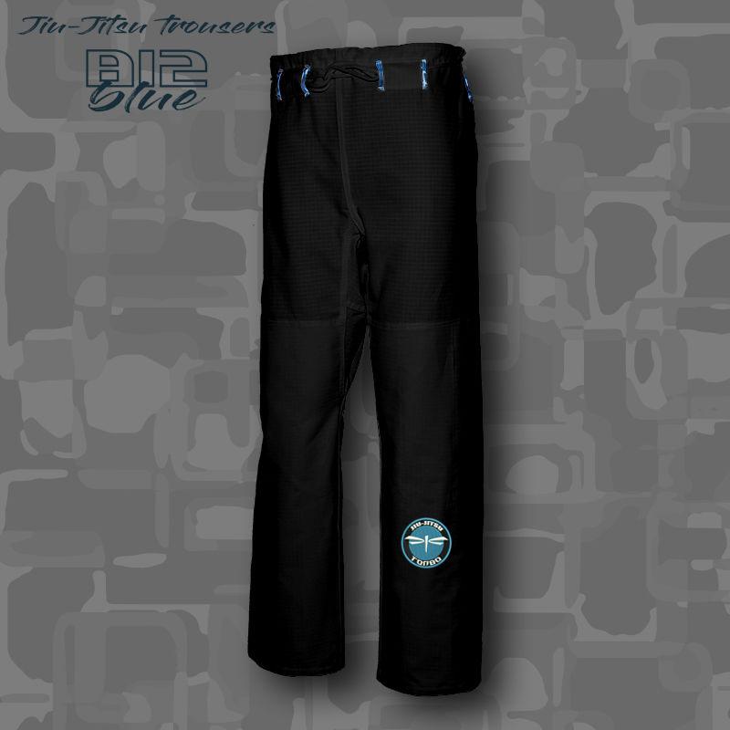 spodnie BJJ / Jiu-Jitsu B12-blue RIPSTOP, czarne, (27 rozmiarów)
