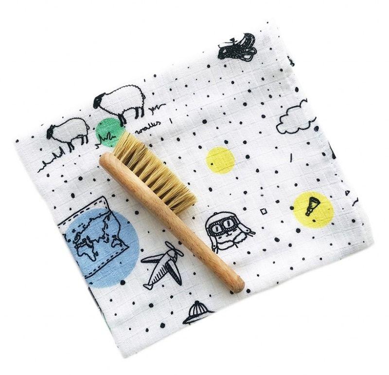 Szczotka i myjka Miś podróżnik LL5473-Lullalove, wyprawka dla niemowlaka