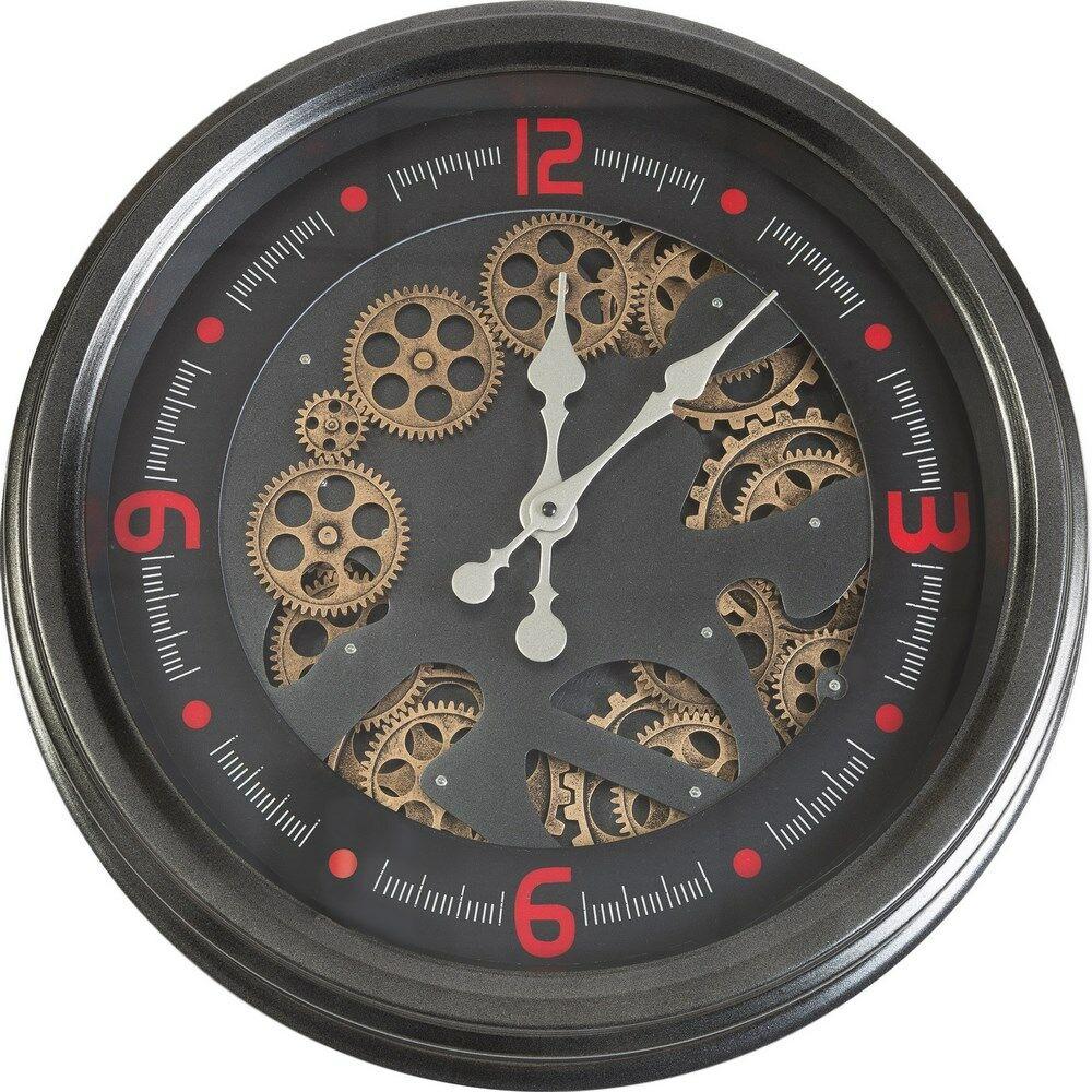 Zegar ścienny 53x53x9 Classic 09 Vintage grafitowy odsłonięte zębatki