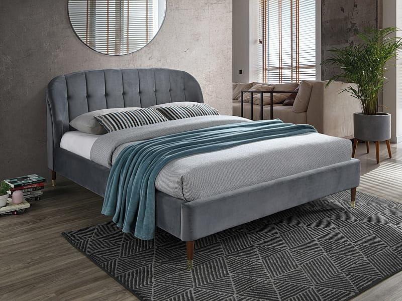 Łóżko LIGURIA VELVET 160x200 szare