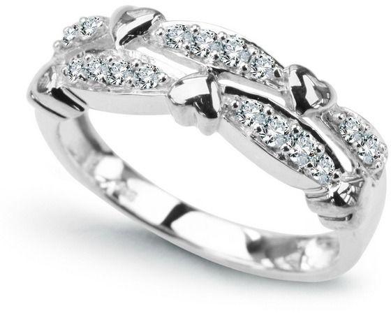 Staviori pierścionek. 16 diamentów, szlif brylantowy, masa 0,26 ct., barwa h, czystość i1. białe złoto 0,585. szerokość 5,5 mm.