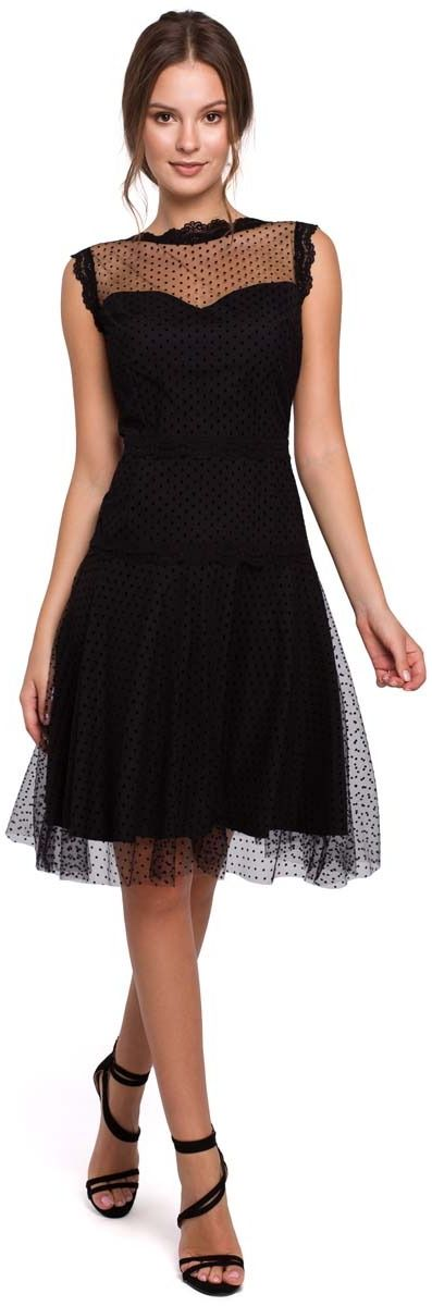 Czarna zwiewna tiulowa sukienka z koronką