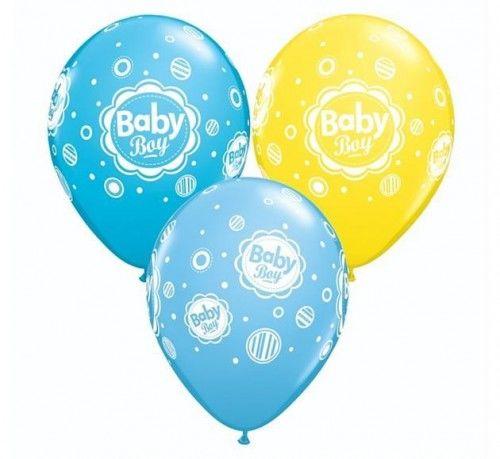 """Balon QL 11"""" Baby Boy, niebieski, 6 szt."""