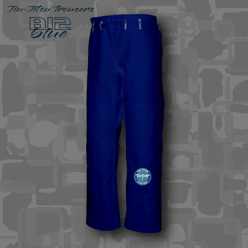 spodnie BJJ / Jiu-Jitsu B12-blue 14oz, niebieskie (27 rozmiarów)