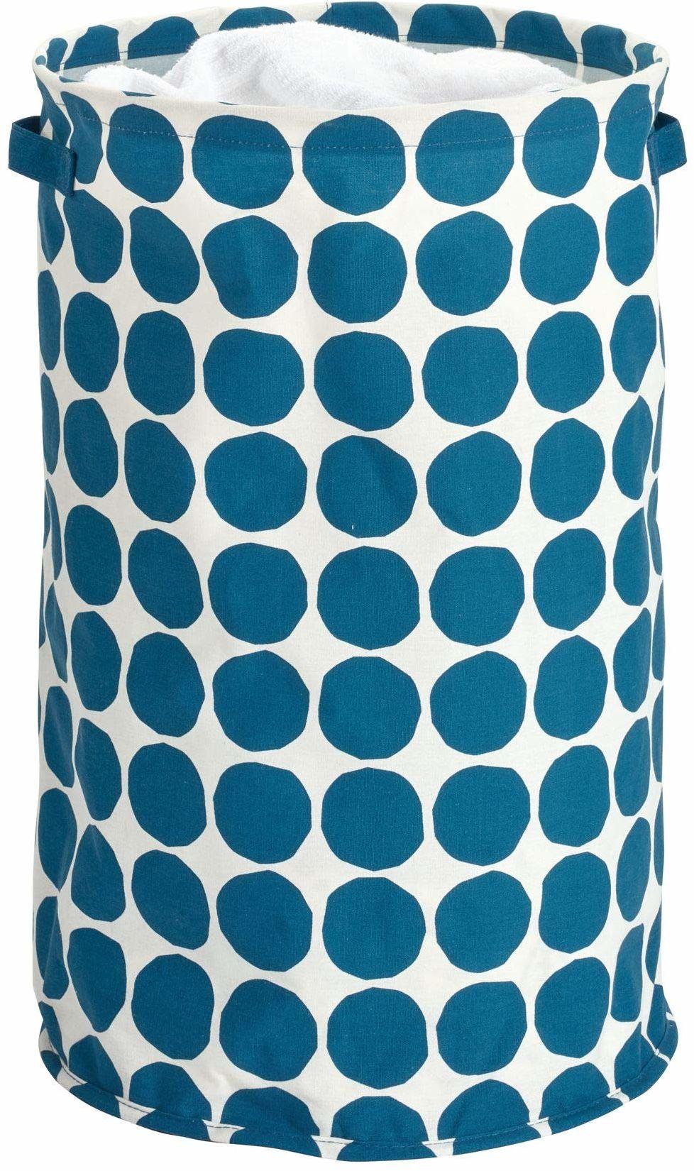 iDesign Kosz na pranie, składany kosz do przechowywania z mieszanki bawełny i poliestru z 2 uchwytami, kosz do przechowywania z tkaniny w kropki do szafki, sypialni i pokoju dziecięcego, niebieski
