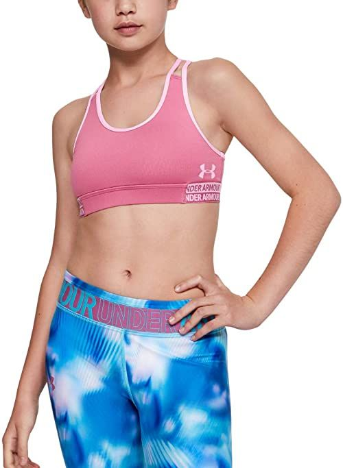 Under Armour dziewczęce biustonosz HeatGear Sport, Pace Pink/Pink Fog (669), YX-Large