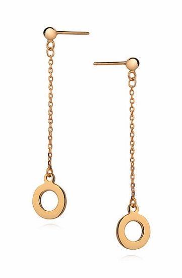 Delikatne wiszące pozłacane srebrne gładkie kolczyki celebrytka kółko ring kółeczko srebro 925 Z0997G