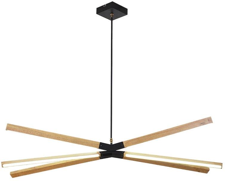 Light Prestige Lugano 6 LP-2828/6P - 97 lampa wiszącą metalowa klosz drewno styl skandynawski 3000K 6x48W LED 97cm