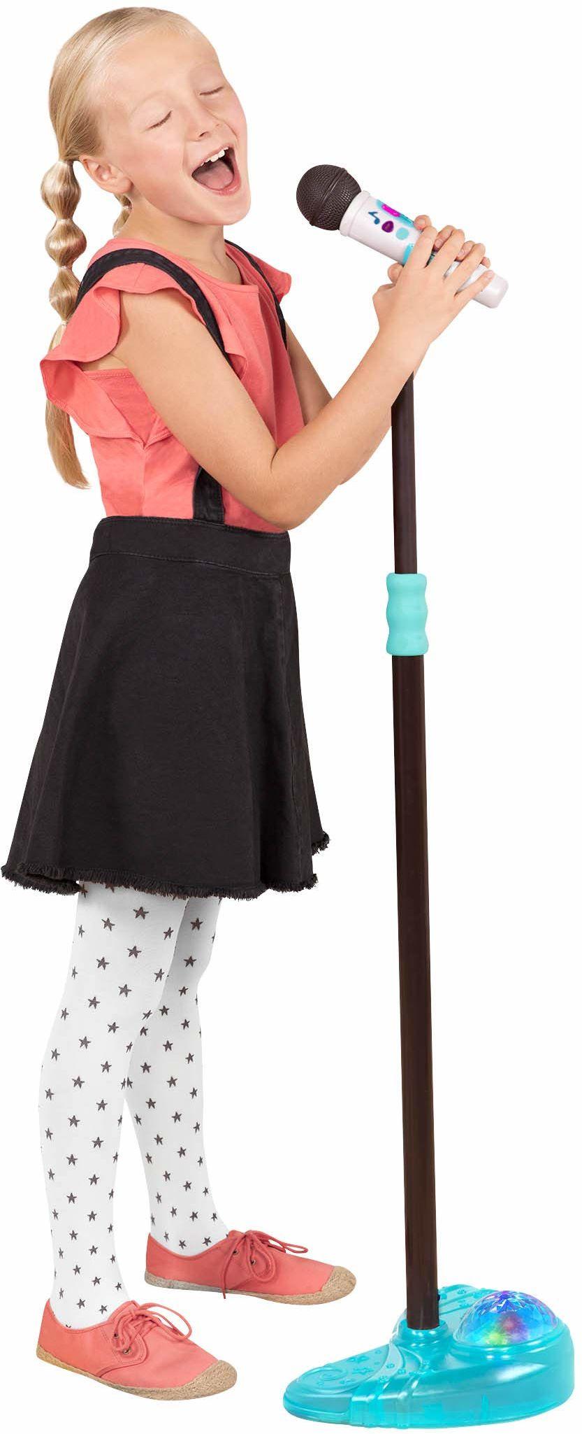 B. toys Mic it Shine mikrofon zabawkowy z funkcją podświetlania  wysuwany mikrofon z funkcją Bluetooth i podstawą podświetlania dla dzieci w wieku od 3 lat + (biały)