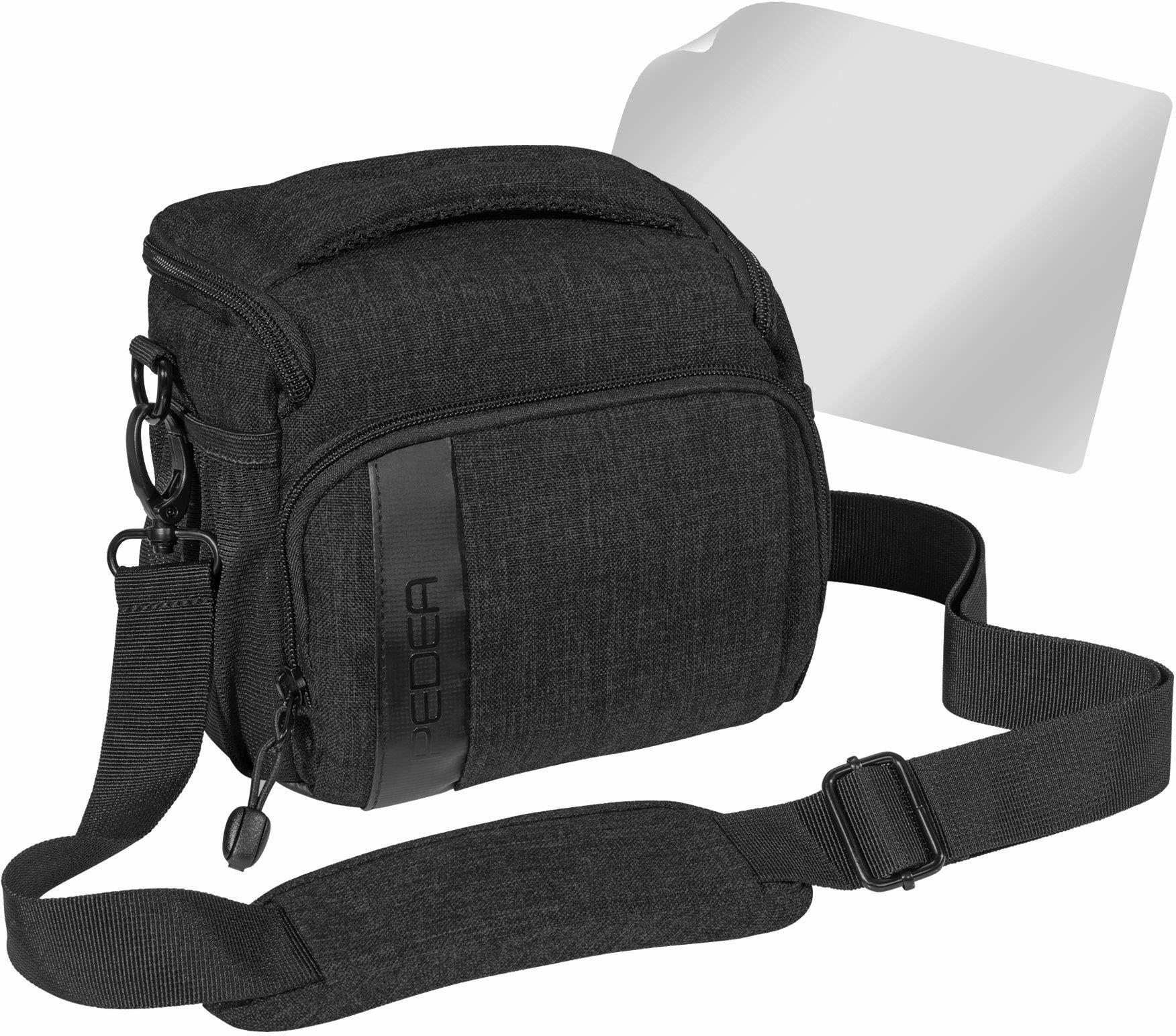 """PEDEA DSLR torba na aparat """"Fashion"""" z folią ochronną na wyświetlacz do Nikon D500 D750 D3500 D5200 D300 Coolpix B500 / Sony Alpha 7 7M2 7M3 7R II DSC-RX10 / Canon EOS 77D 200D 1300D, rozmiar L czarny"""