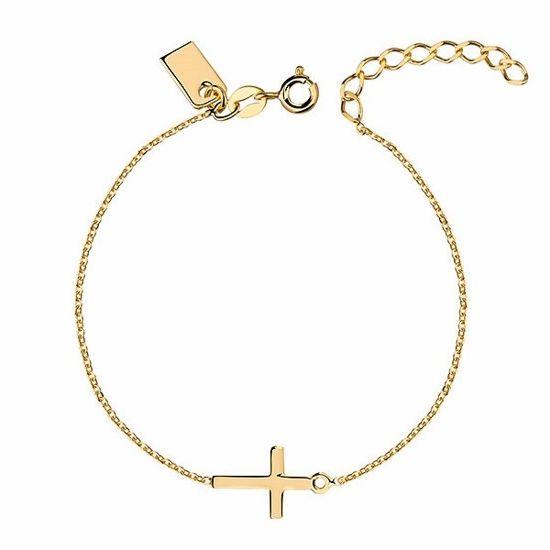 Delikatna pozłacana srebrna bransoletka gwiazd celebrytka krzyżyk krzyż srebro 925 R0105BG