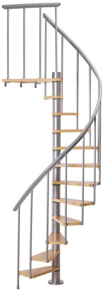 Schody spiralne Srebrne Calgary średnica 120 cm stopnie szerokość 53.7 cm Buk 12 sztuk Dolle