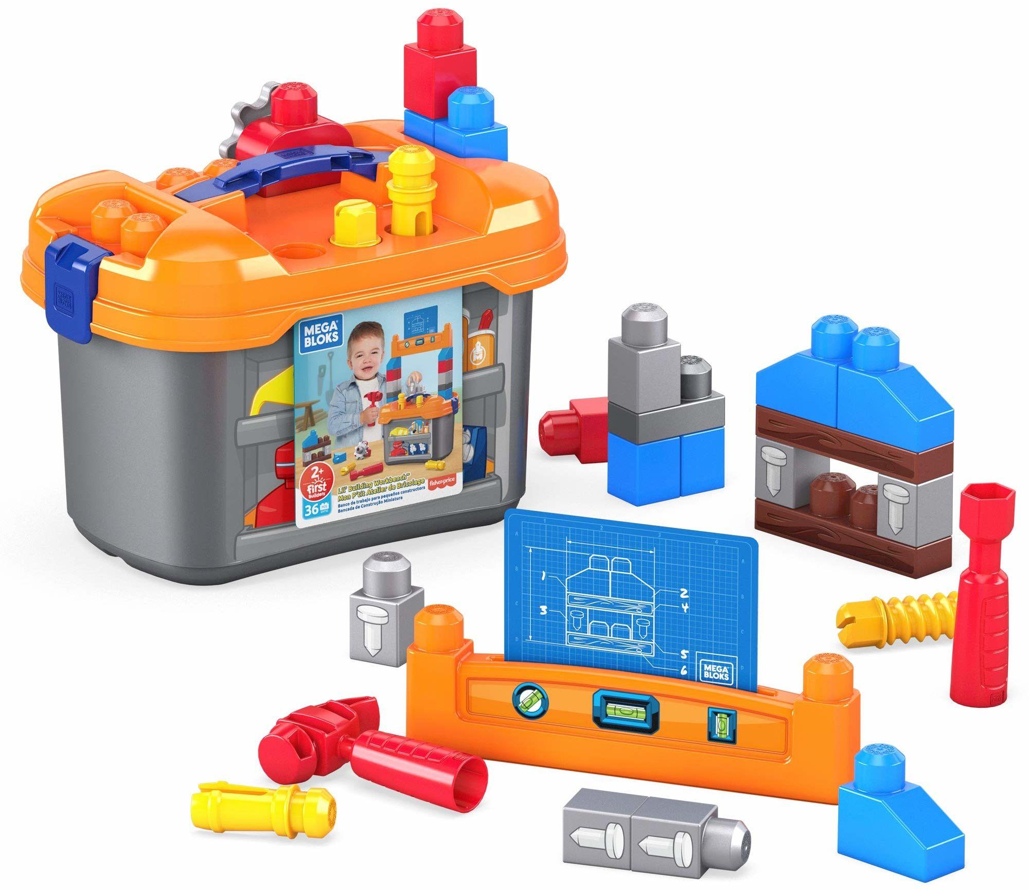 Mega, Mega Bloks Warsztat Małego Majsterkowicza Zestaw Do Zabawy Z Klockami Dla Dzieci GNT92