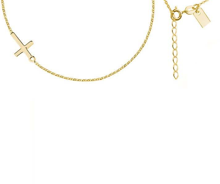 Elegancki pozłacany srebrny naszyjnik krzyż krzyżyk srebro R0105NG