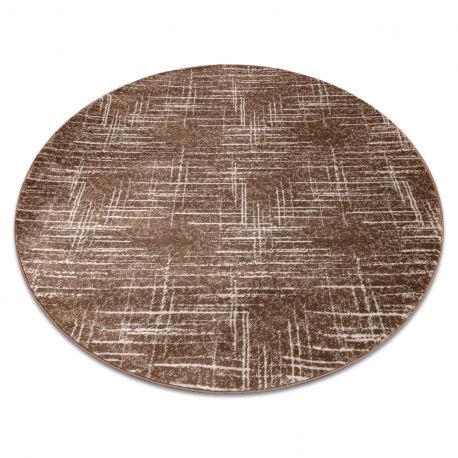 Dywan MEFE nowoczesny Koło 9401 Linie vintage przecierany - Strukturalny, dwa poziomy runa beż / brązowy koło 100 cm