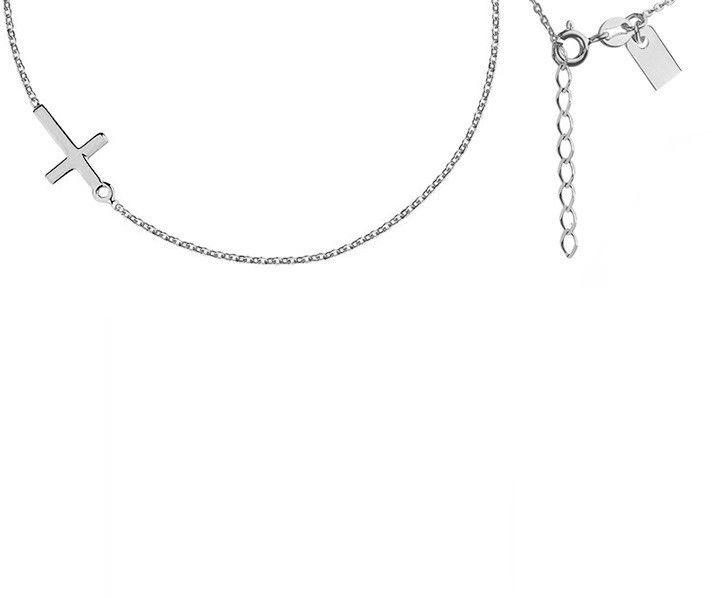 Elegancki rodowany srebrny naszyjnik krzyż krzyżyk srebro R0105N