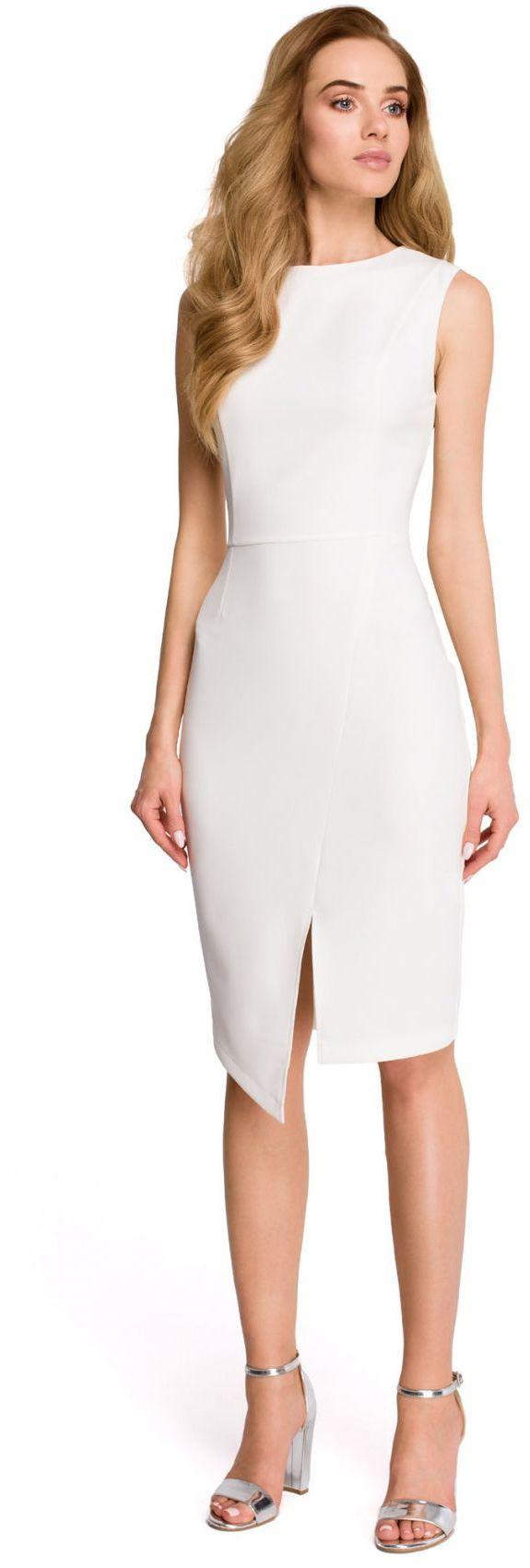 S105 Sukienka z asymetrycznym rozcięciem - ecru