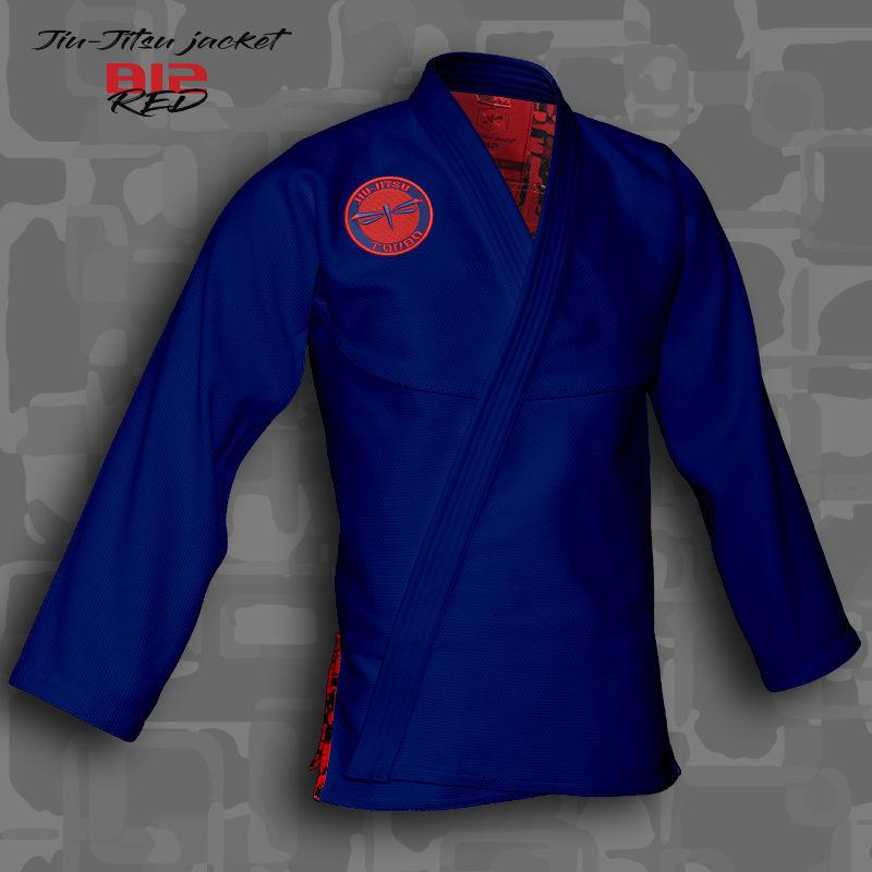 bluza BJJ / Jiu-Jitsu B12-RED, niebieska, 420g/m2 (21 rozmiarów)