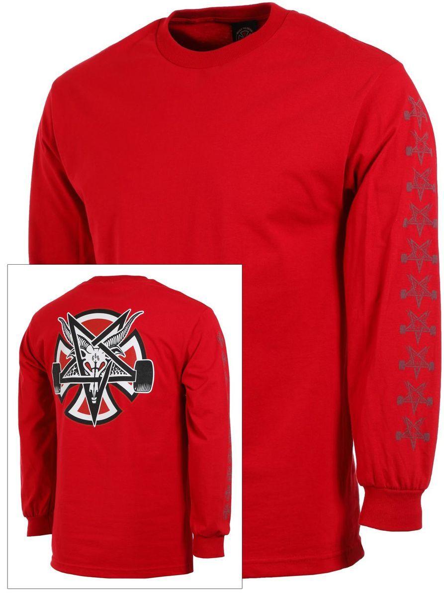 t-shirt męski THRASHER (INDEPENDENT) PENTAGRAM CROSS LS TEE Cardinal Red