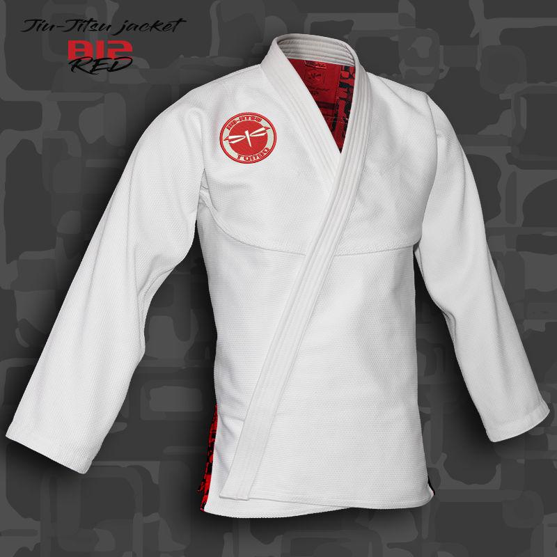 bluza BJJ / Jiu-Jitsu B12-RED, biała, 420g/m2 (21 rozmiarów)