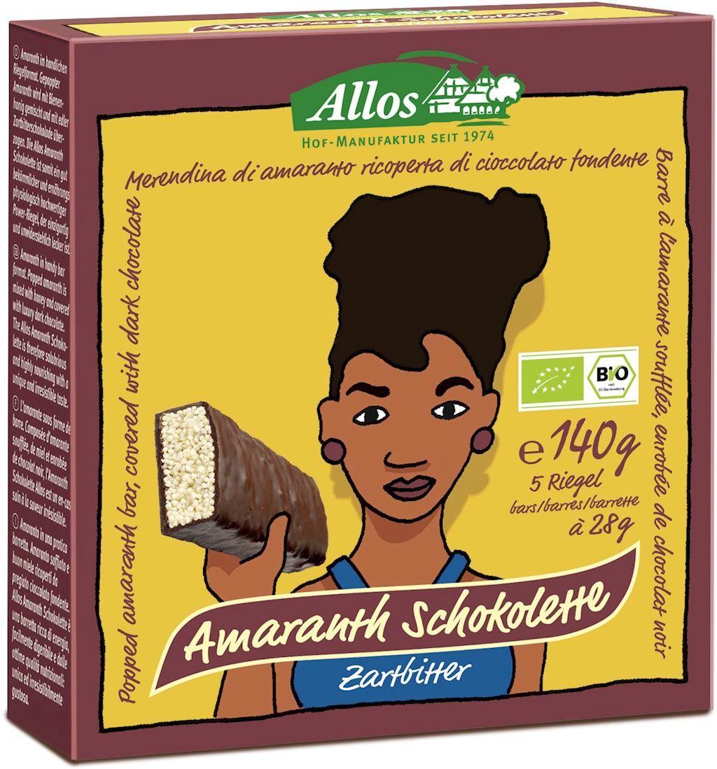 Baton amarantusowy w gorzkiej czekoladzie bio 140 g 5 szt. - allos
