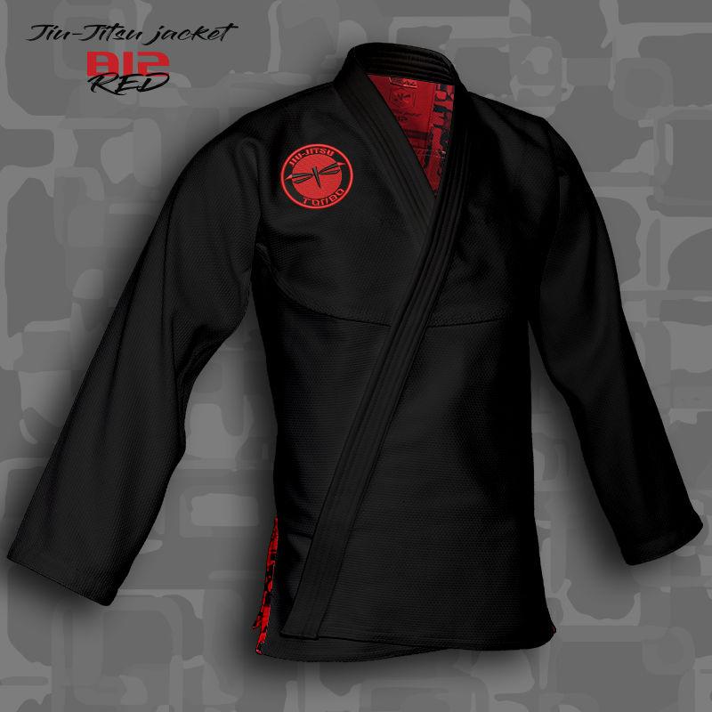 bluza BJJ / Jiu-Jitsu B12-RED, czarna, 420g/m2 (21 rozmiarów)