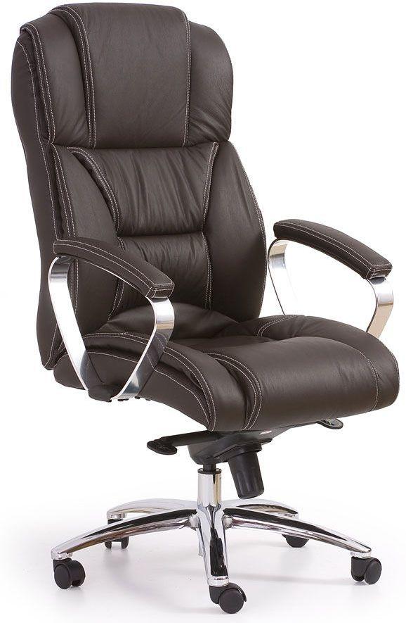 Skórzany fotel obrotowy Tenar - brązowy