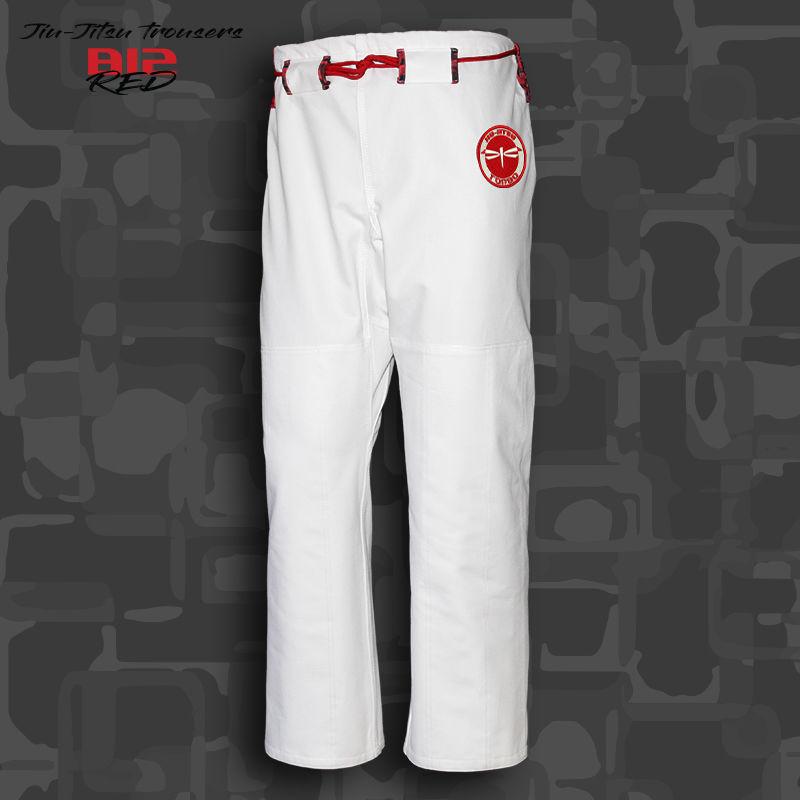 spodnie BJJ / Jiu-jitsu B12-RED 12oz, białe (27 rozmiarów)