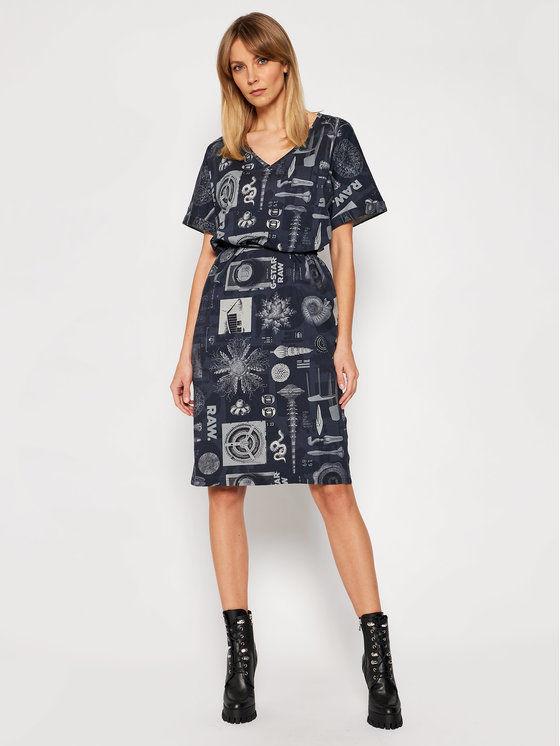 G-Star Raw Sukienka codzienna Adjustable D19292-C387-C367 Granatowy Regular Fit