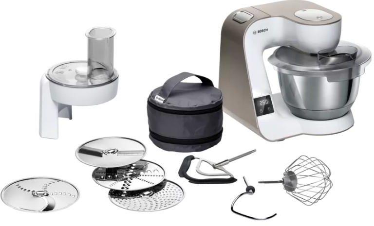 Robot kuchenny z serii Bosch MUM5 z wagą i timerem oraz akcesoriami: tarczami oraz mieszadłami oraz etui