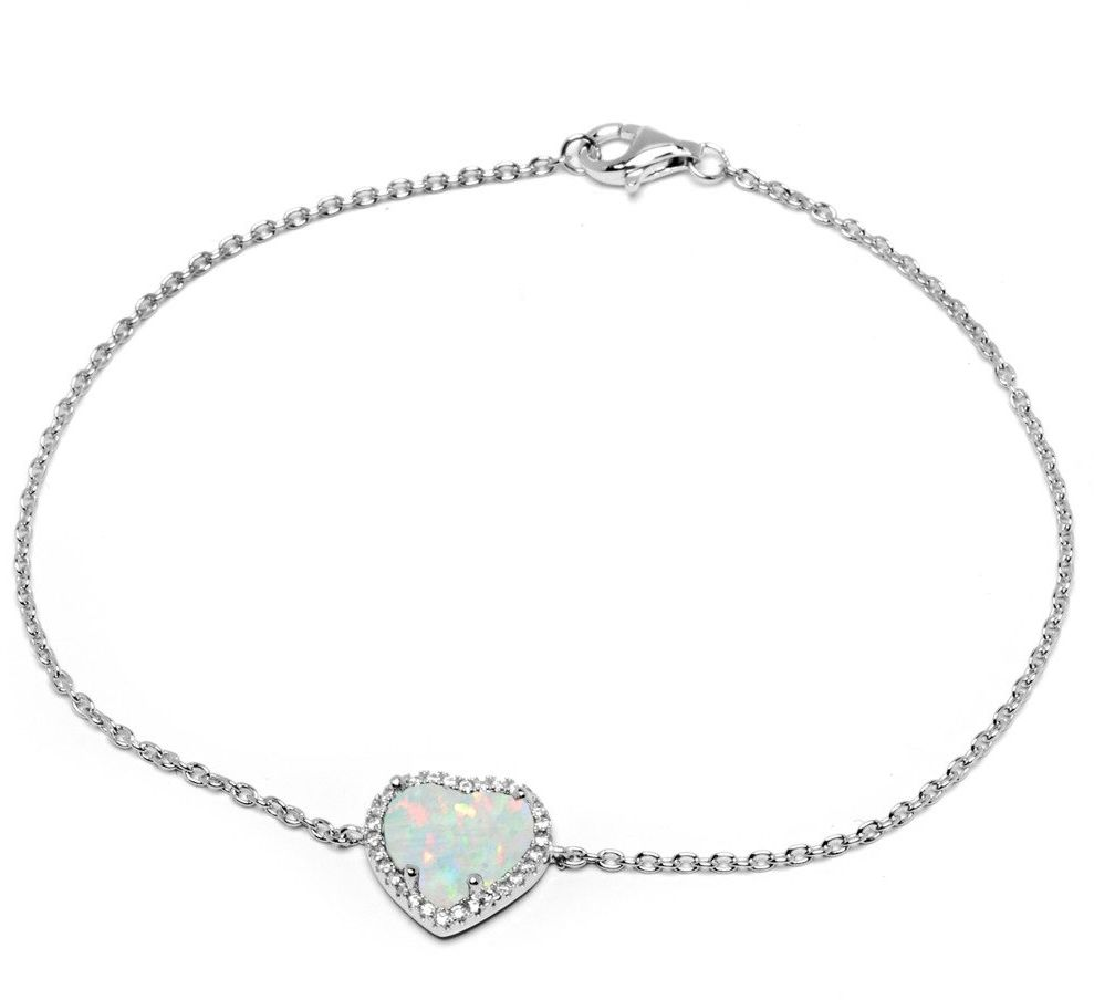 Srebrna bransoletka serce z białym opalem
