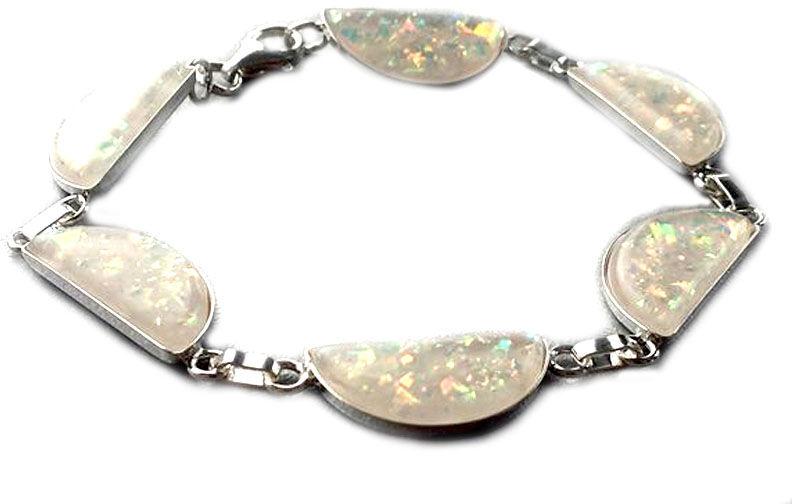 Srebrna bransoletka z białym opalem naturalnym