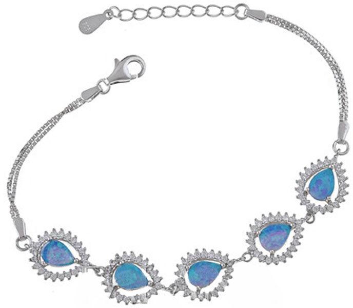 Srebrna bransoletka z opalem i cyrkoniami