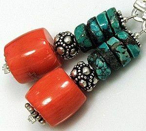 kolczyki z koralem i turkusem