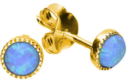 Delikatne okrągłe pozłacane srebrne kolczyki z niebieskim opalem