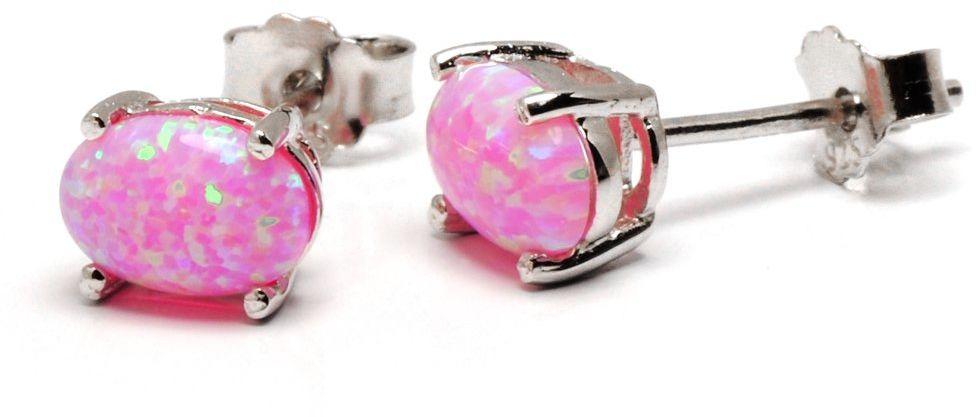 Srebrne owalne kolczyki sztyfty z różowym opalem