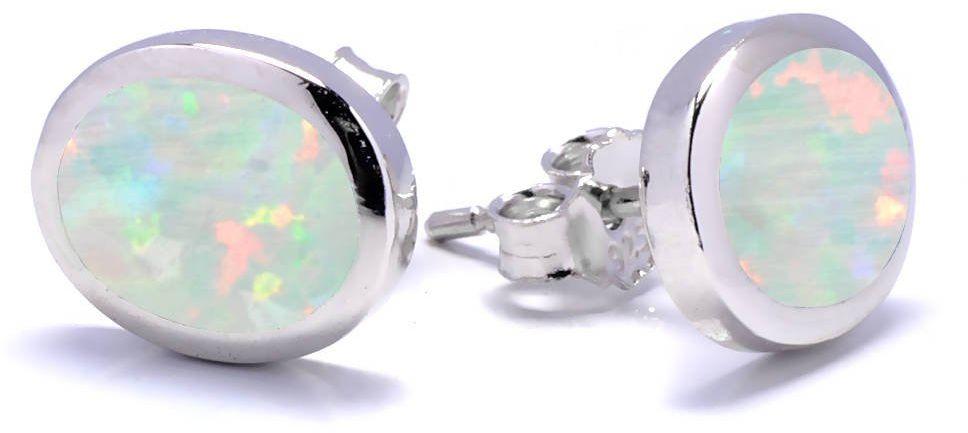 Srebrne owalne kolczyki sztyfty z białym opalem