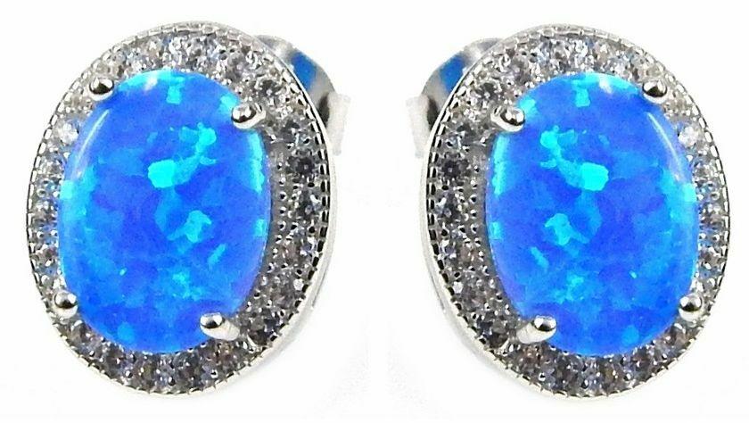 srebrne kolczyki z niebieskim opalem