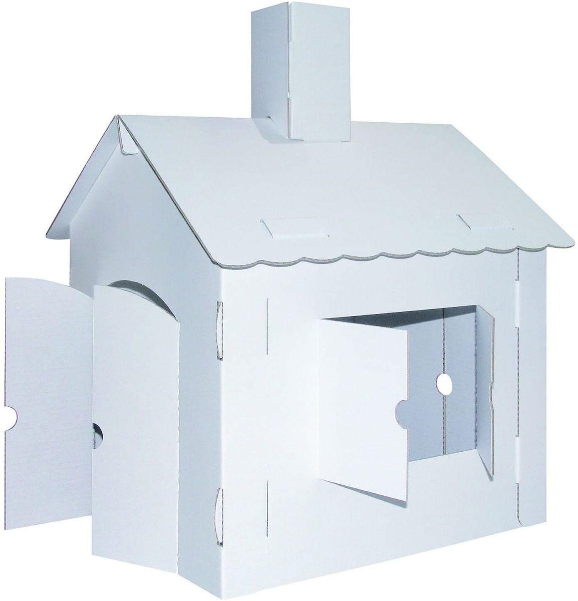 Domek biały z papieru do skonstruowania i pomalowania